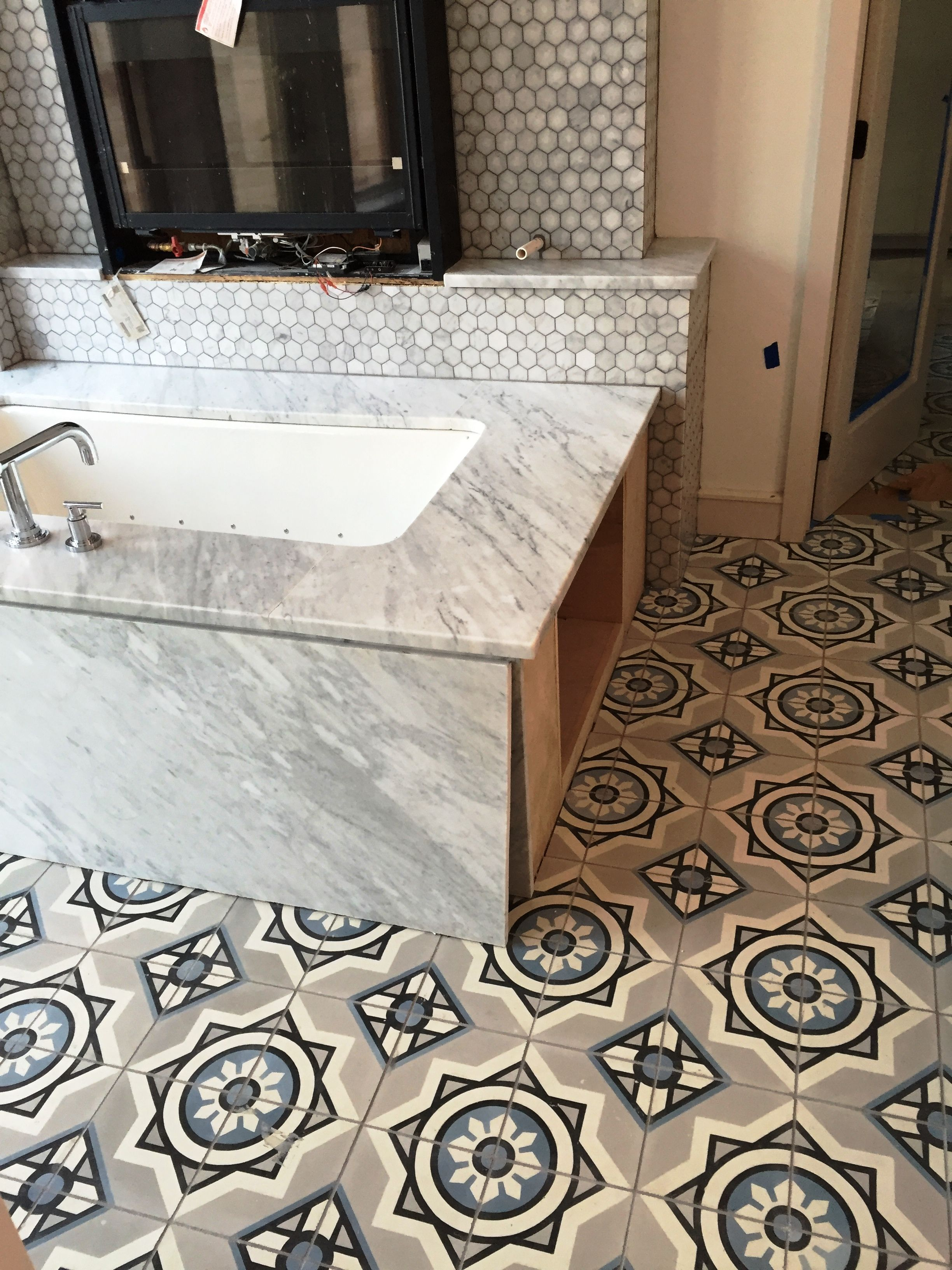 This bathroom cement tile floor is in progress in corpus for Bathroom decor and tiles midland
