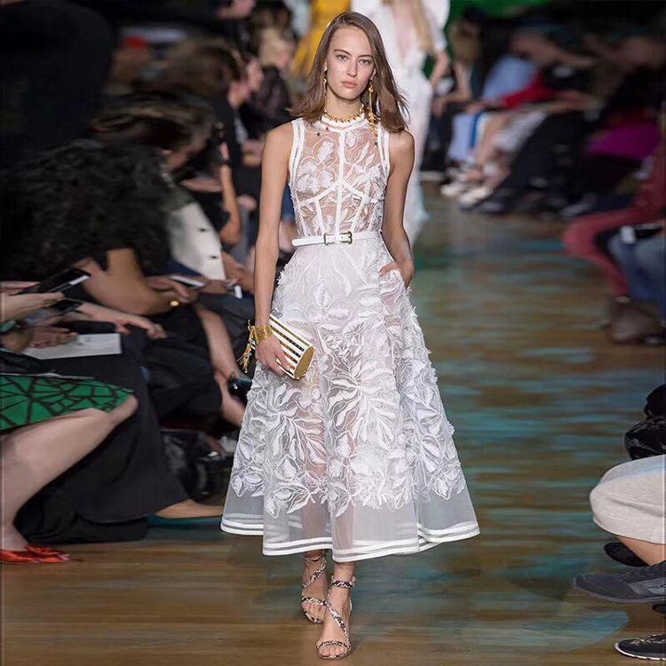 Damen Runway Stickerei Designer Inspiriert Sommerkleid Mit