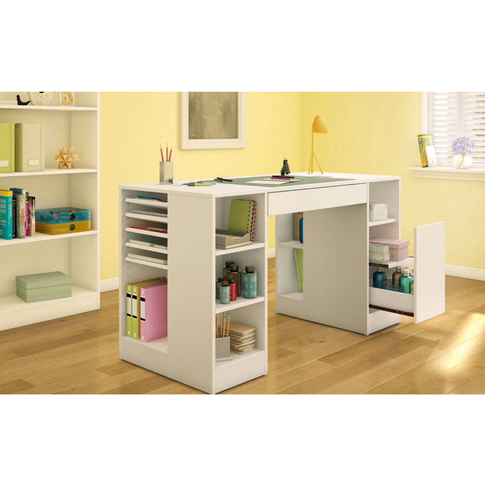 South Shore Crea White Counter Height Craft Table With Storage Walmart Com Craft Tables With Storage Craft Table Craft Room Tables