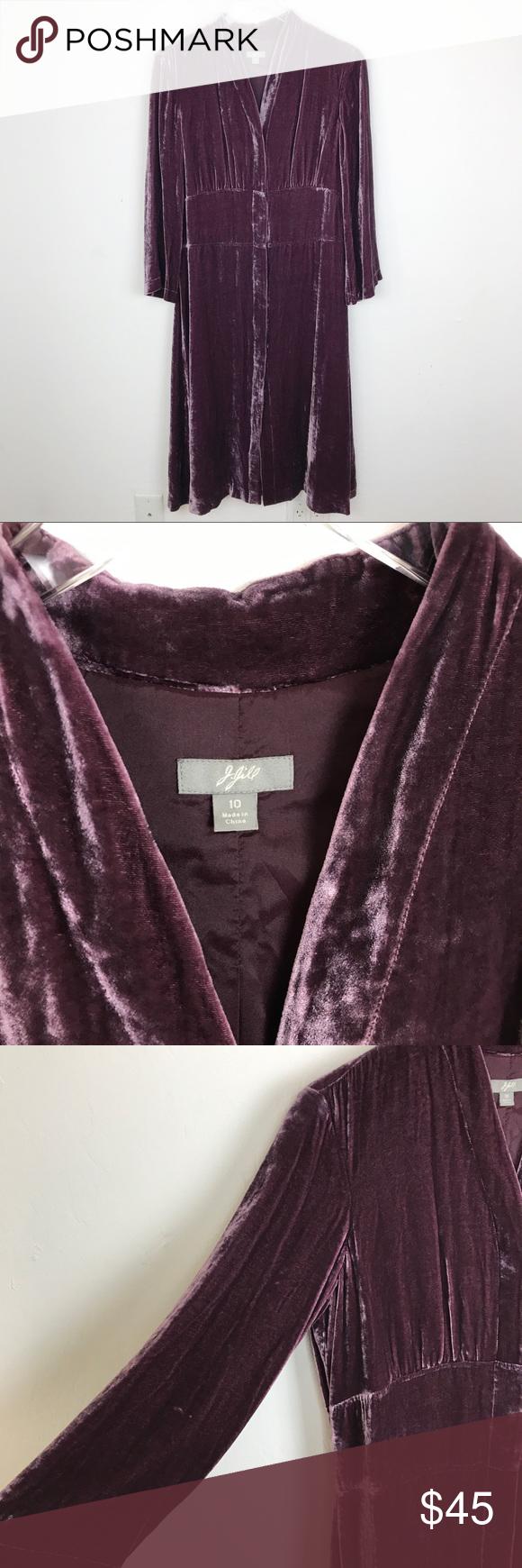 J jill crushed velvet midi shirt dress size swankysweetp