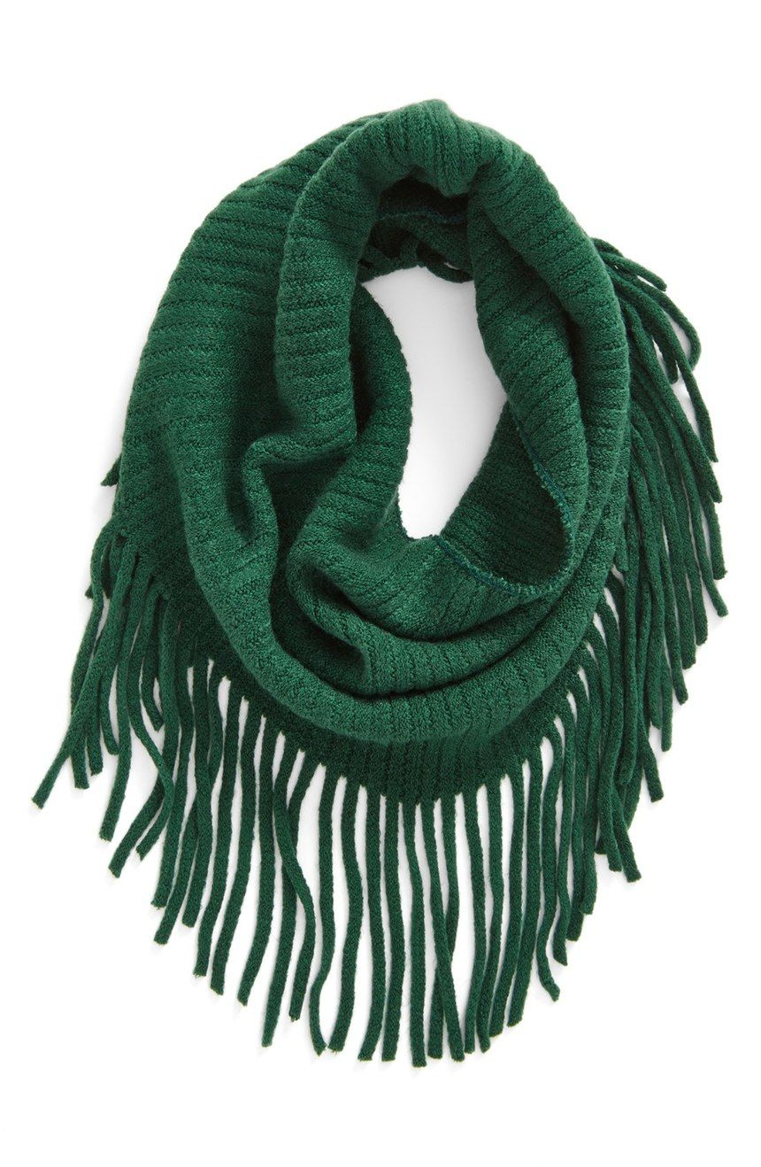 Could resist this pretty green fringe infinity scarf from the ...