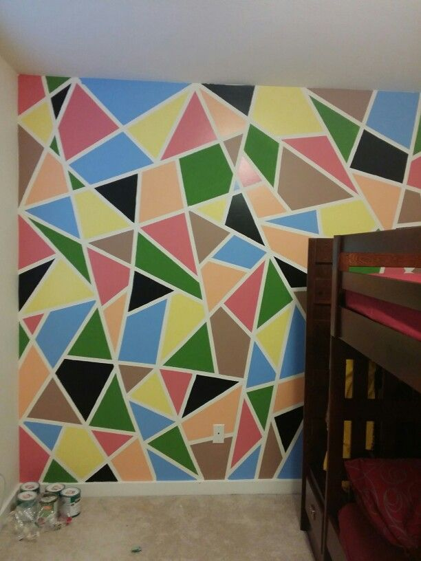 Kids Room Crazy Tapping Paint Triangles Wall Painting Room Wall Painting Kids Room Wall