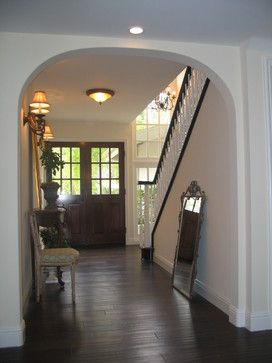 Barbara Stock Interior Design Entry With French Doors/Espresso Hardwood  Floors