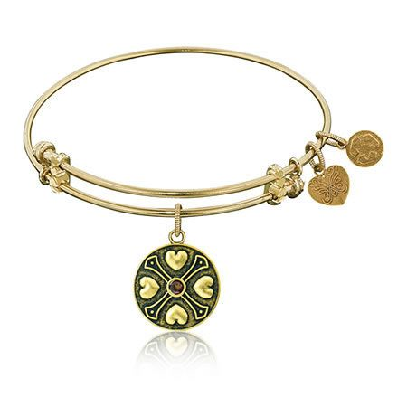 January Garnet Birthstone Charm Bangle Bracelet in Yellow Brass