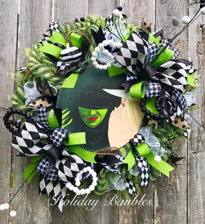 Halloween Wreath Witch Deco Mesh Wreath Witch Wreath Wizard Etsy