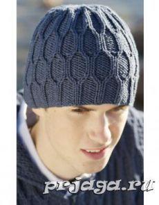 красивая мужская шапка спицами Knittng шапочки вяз мужское