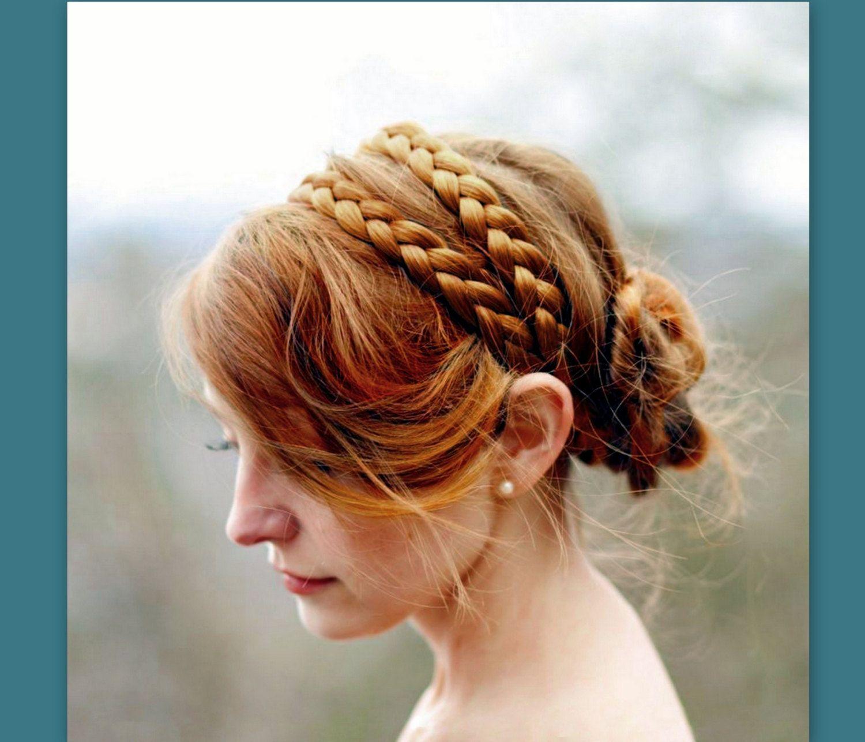 wide double strand hair braided headband bridal beach ...