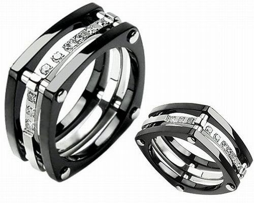 Black Square Wedding Rings Sets With Diamonds