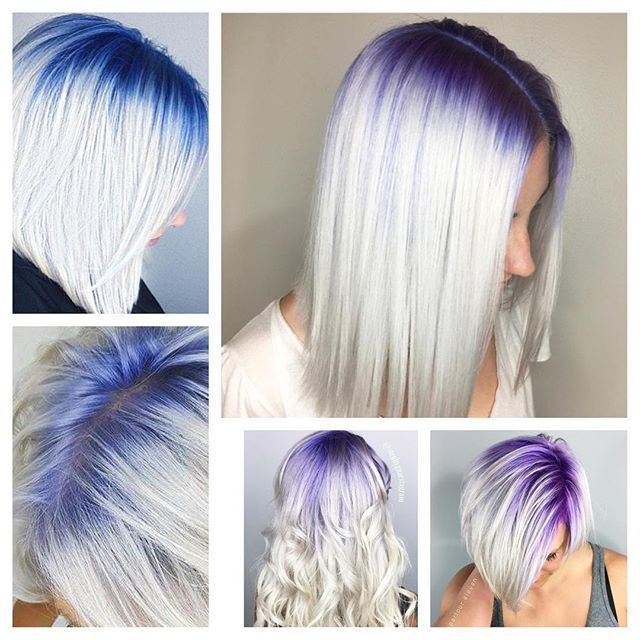 There Is Something So Amazing About White Blonde Hair With A Colorful Shadow Root Top Left Clockwise Kristi Roots Hair Shadow Roots Hair Hair Styles
