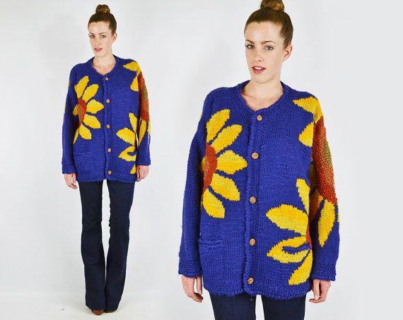 vintage SUNFLOWER sweater / sunflower cardigan by trashyvintage, $68.00