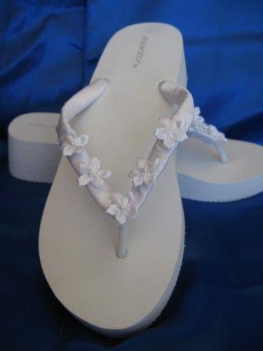 White Wedge Bridal Flip Flops With Flowers Beach Weddng Sandals