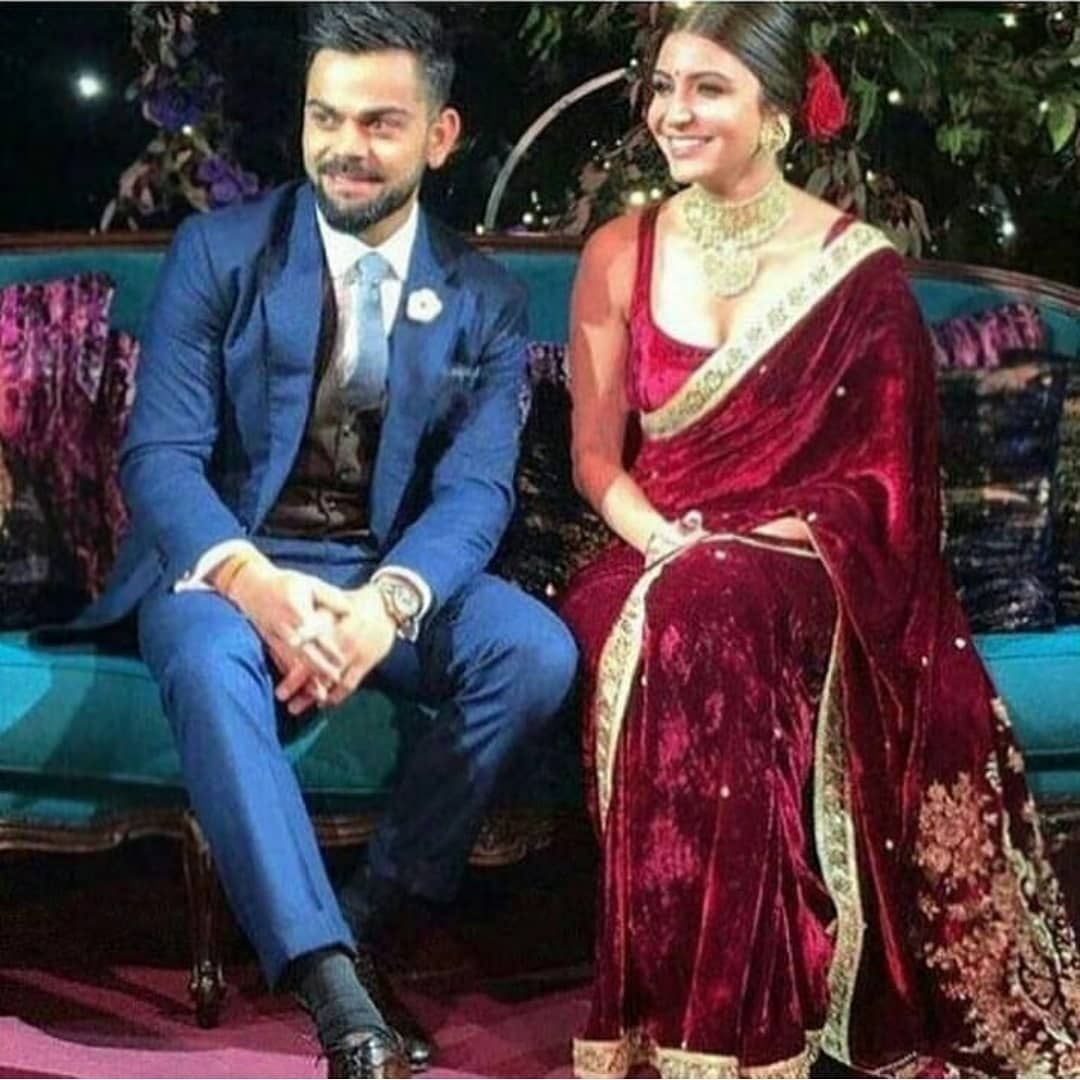 Unseen Pictures Videos Of Virat Kohli And Anushka Sharma S Wedding Celebrations Velvet Saree Indian Fashion Trends Saree Designs