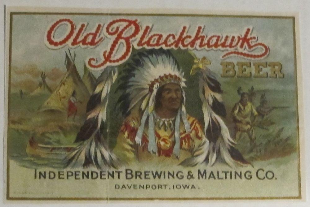 Old Blackhawk Beer Independent Brg/Mltg Co Davenport IA rare prepro ...