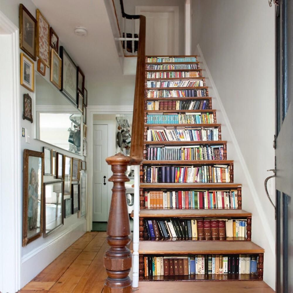 Best Bookcase Steps Stair Stickers Bookcase Stairs Home 400 x 300