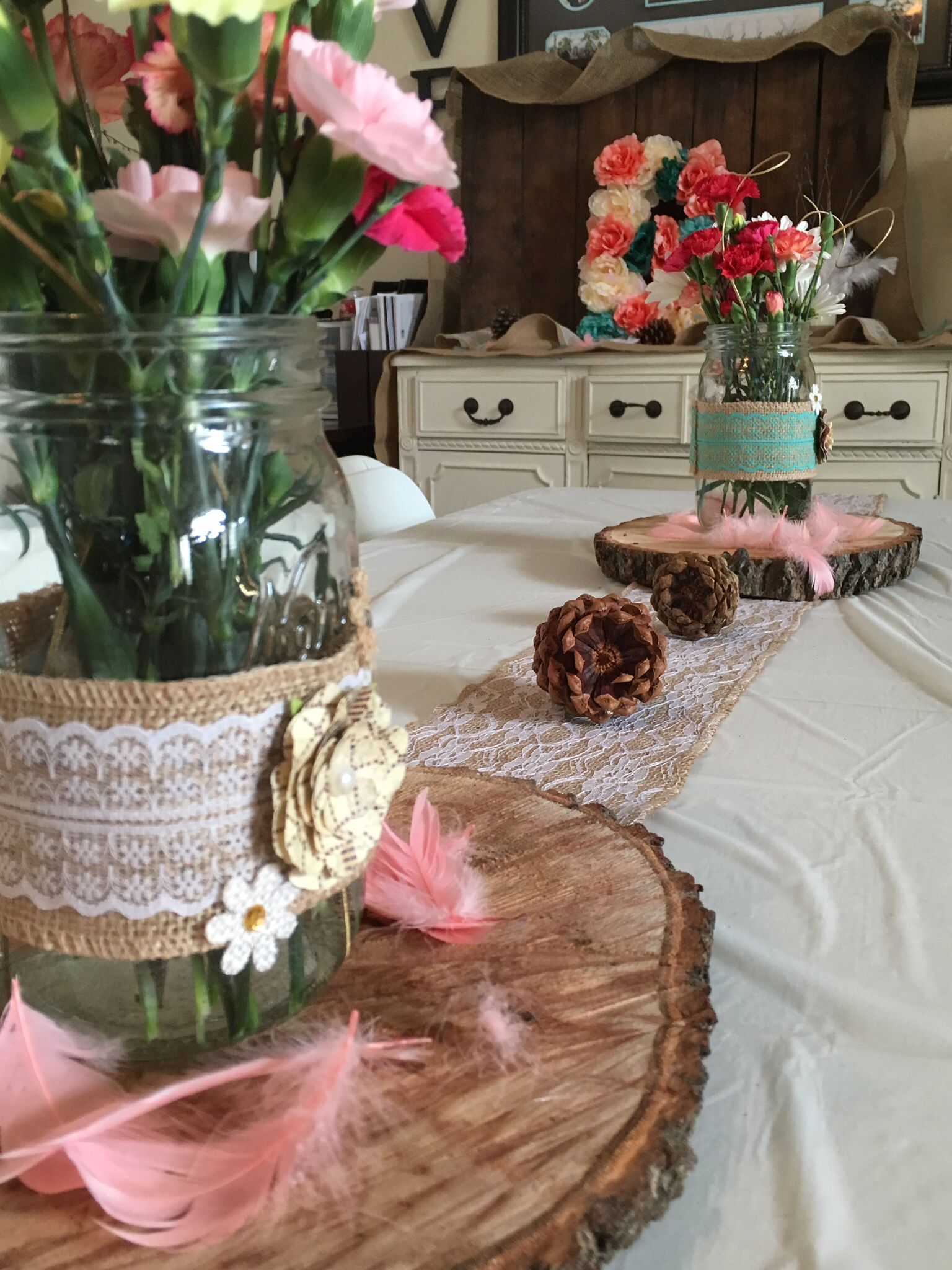 Woodsy Chic Rustic Themed Baby Shower Brunch Details Include Pine Cones Wood Slabs