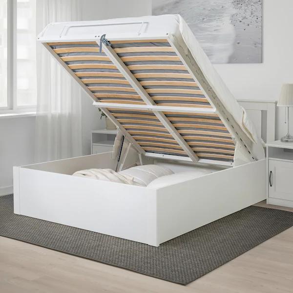 Songesand Cadre Lit Coffre Blanc 160x200 Cm Ikea Idee Ikea Base Letto Impiallacciatura Di Legno