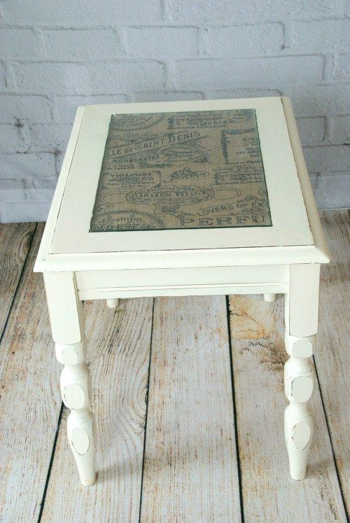 Burlap Topped Side Table Canary Street Crafts Coffee Table Makeover Painted Coffee Tables End Table Makeover