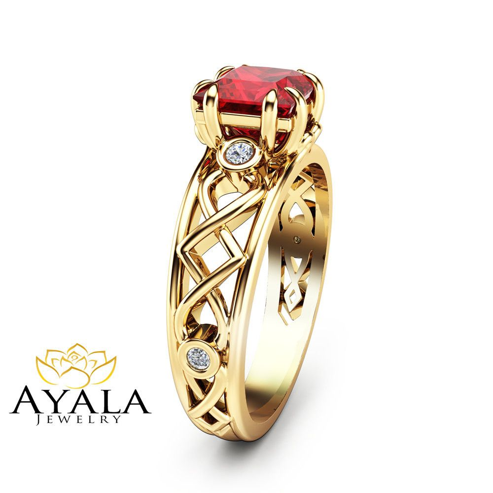 Princess cut ruby ring in k yellow gold ruby engagement ring