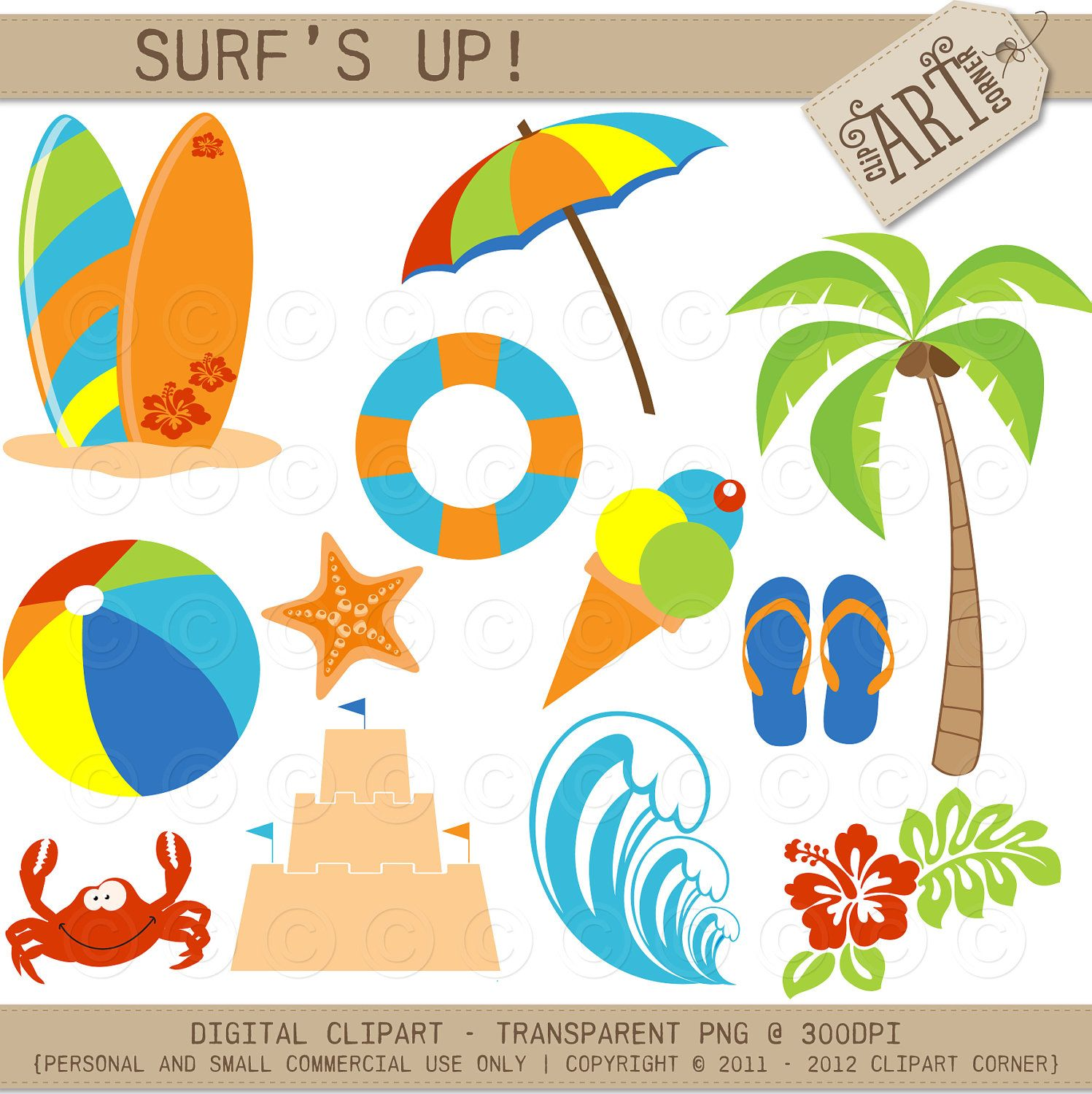 a day at the beach clipart, summer clip art, surfing, surfboards