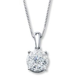 Cheap Jared Diamond Necklace 12 ct tw Roundcut 10K White Gold