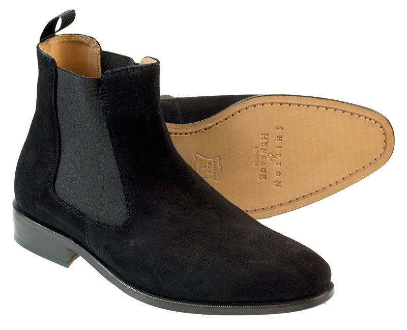Trent Men's Chelsea Boot Short Suede Dress Boot Finest Black Suede  Slow-tanned leather sole