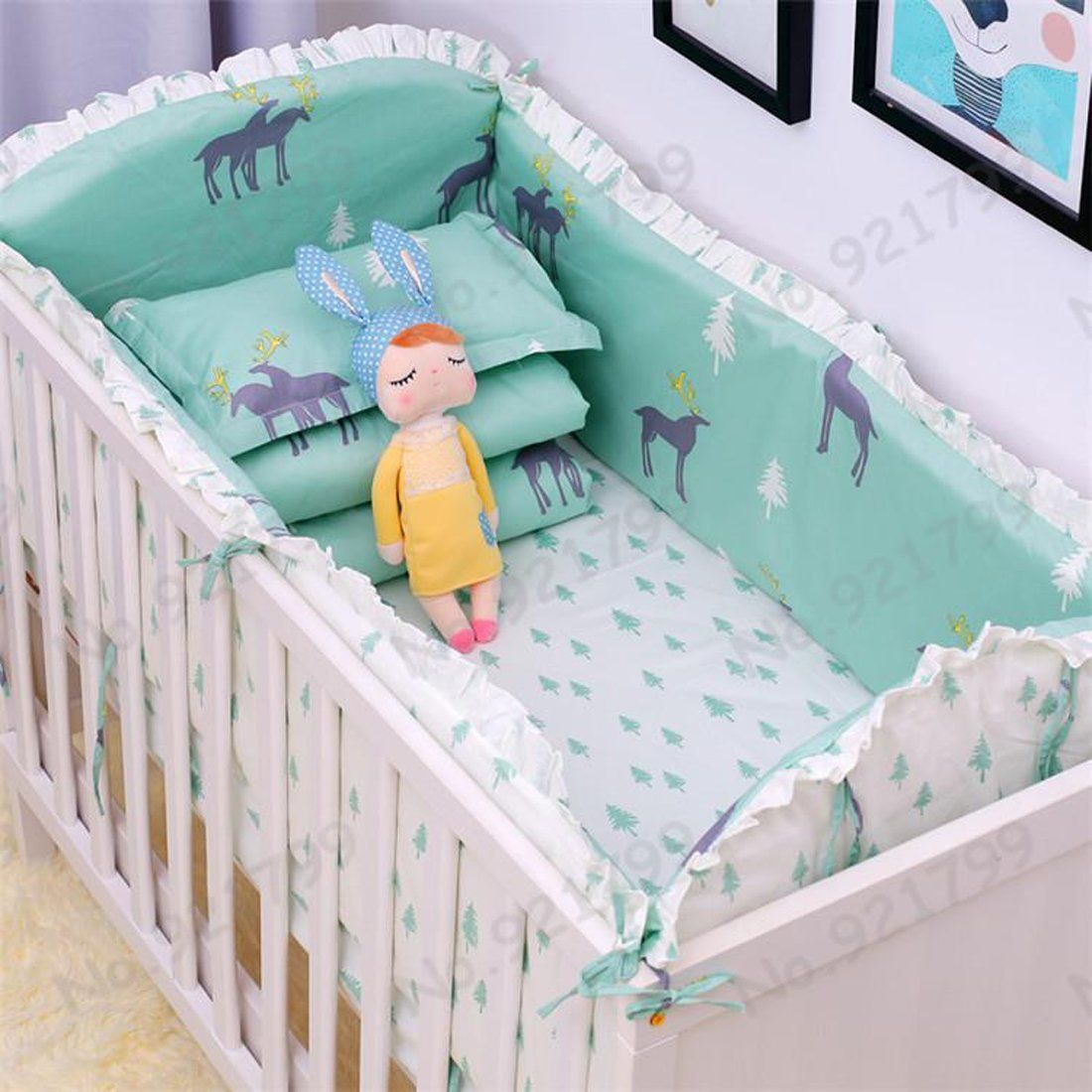 Baby S Crib Bumpers 6pcs Set Bed Around Cotton Thickening Cartoon Baby Bedding Sets Baby Cribs Baby Cot Bedding