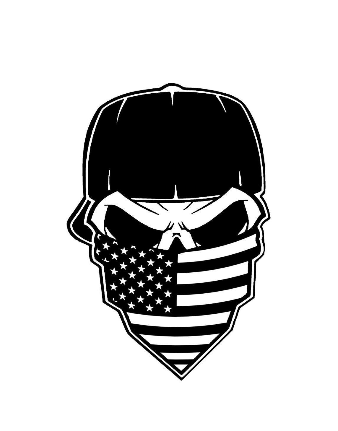 American Flag Bandana Skull Vinyl Decal Sticker Art Design