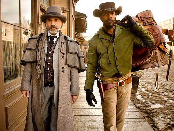 Oscar winners Christoph Walz (winning his second Best Supporting Actor Award here) and Jamie Foxx (who won a Best Actor Oscar for Ray) in Django Unchained.