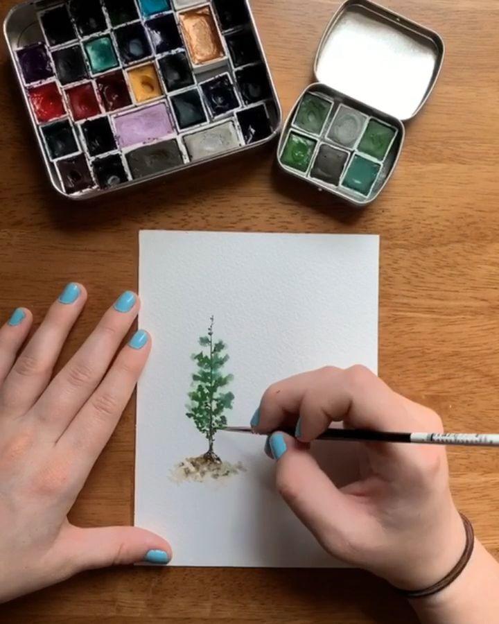 Watercolor pine tree tutorial - stop saying sorry