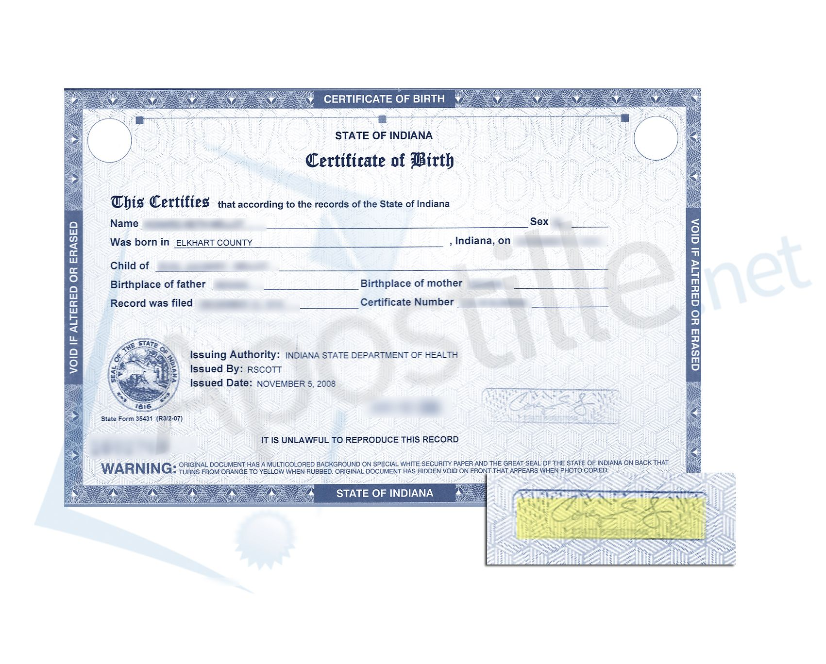 certificate birth indiana state county sample marion health elkhart signed apostille officer resume indianapolis issued calligraphy lettering bullet journal vital