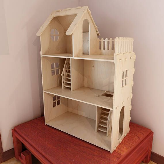 Big plywood Doll house for Barbie. Cnc router cutting file / Vector ...