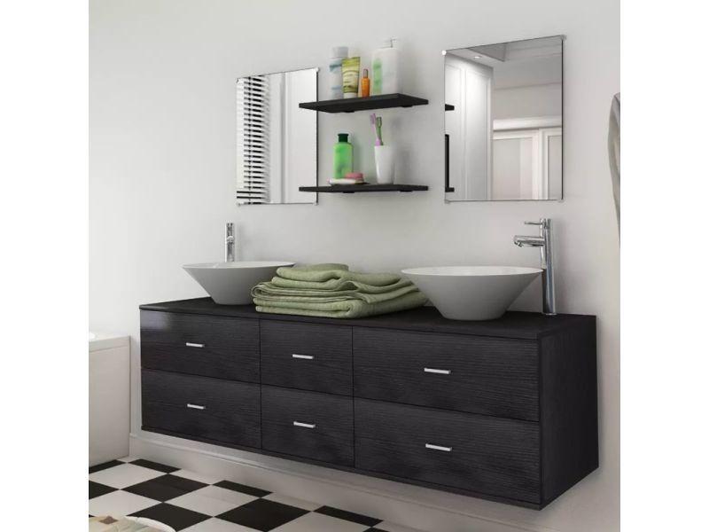 Vidaxl neuf pièces pour salle de bains avec lavabo et robinet noir