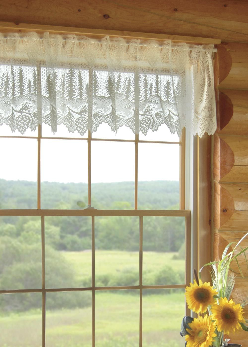 White Lace Evergreen Tree And Pine Cone Pinecone Curtains (Heritage Lace)