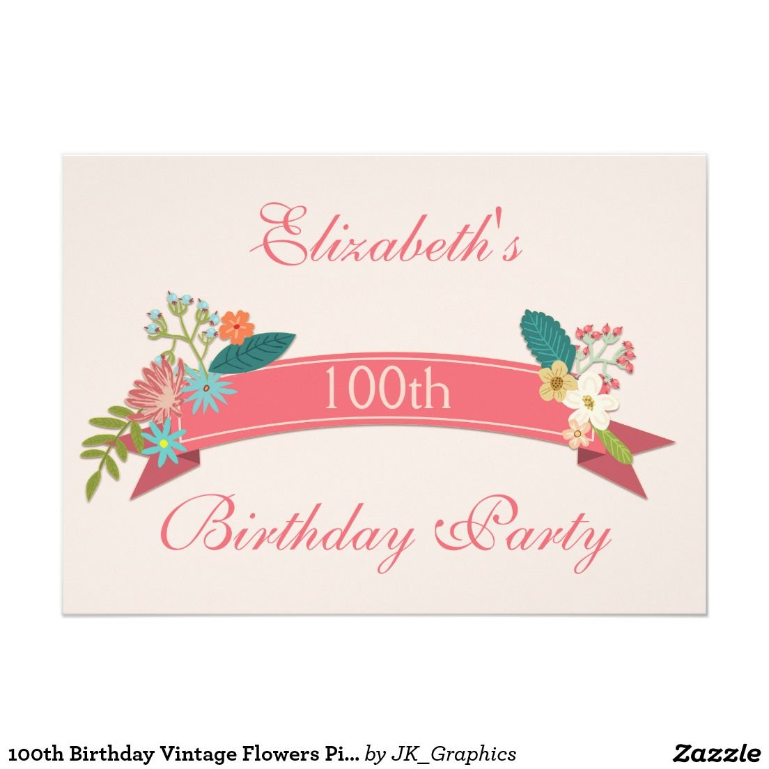100th Birthday Vintage Flowers Pink Banner Invitation 100th