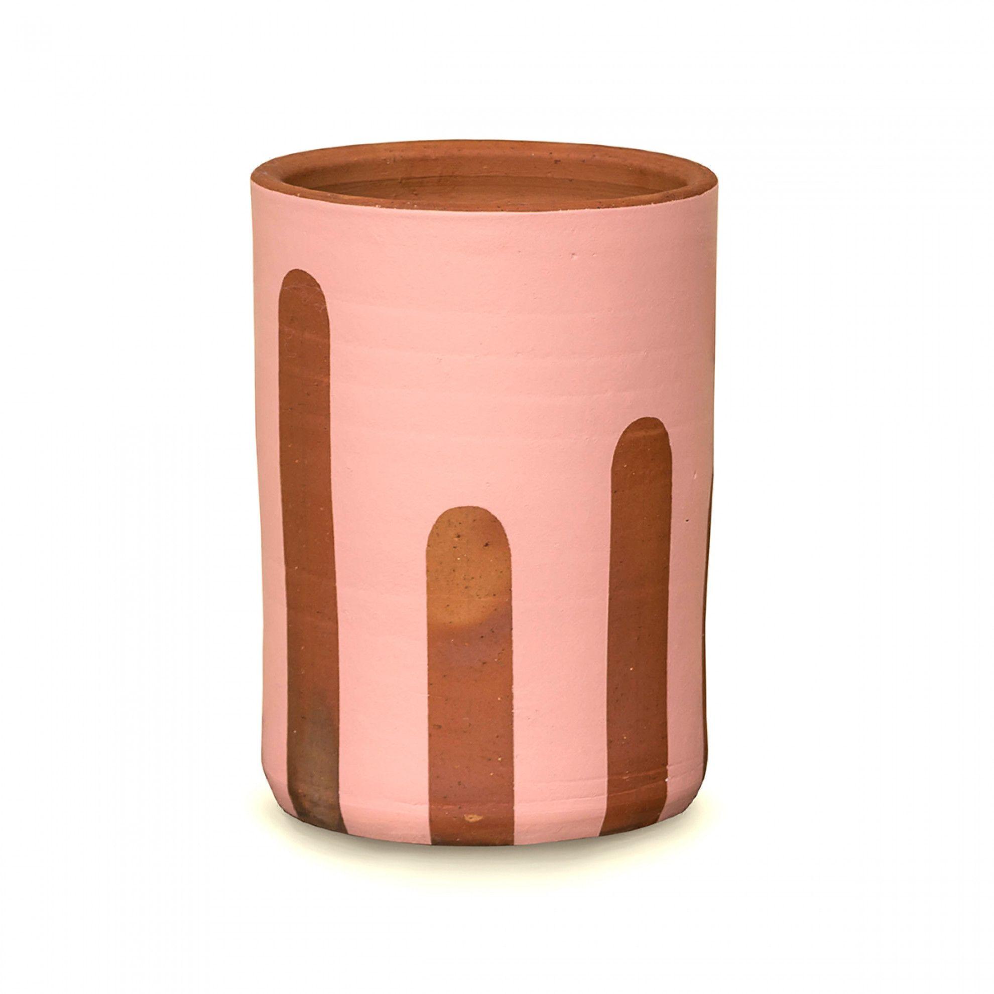 vaso de cerâmica vermelha com pintura