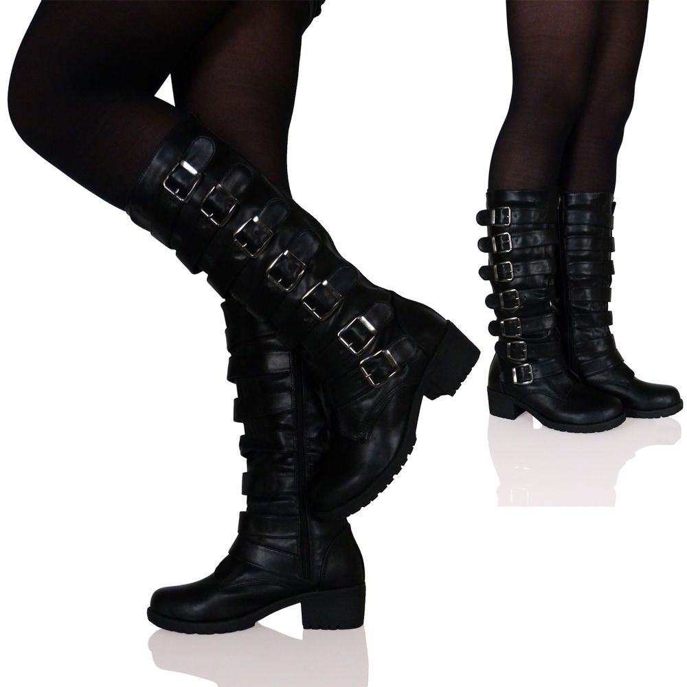 Shoes Women Knee-high Boots Square Heels Buckle Round Toe Autumn Motorcycle Boots Zipper High Heels Shoes