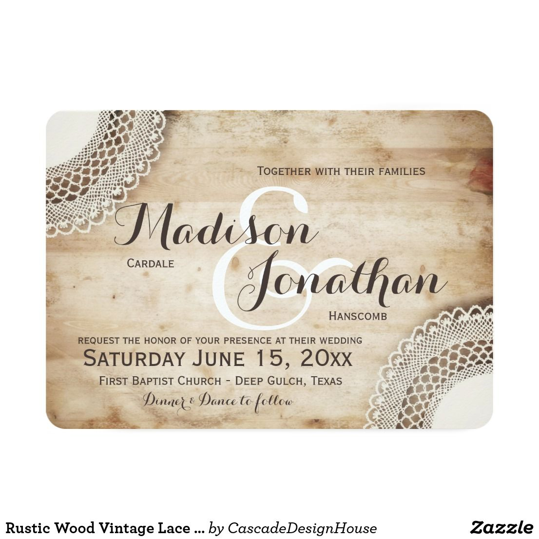 Rustic Wood Vintage Lace Wedding Invitations with a boho shabby chic ...