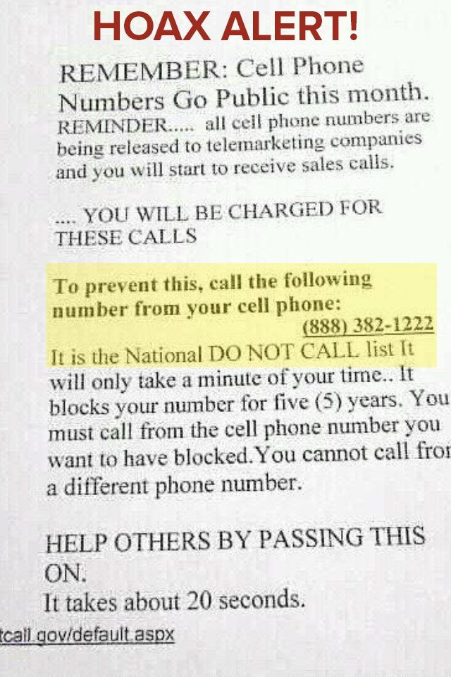 Cell phone numbers go public hoax