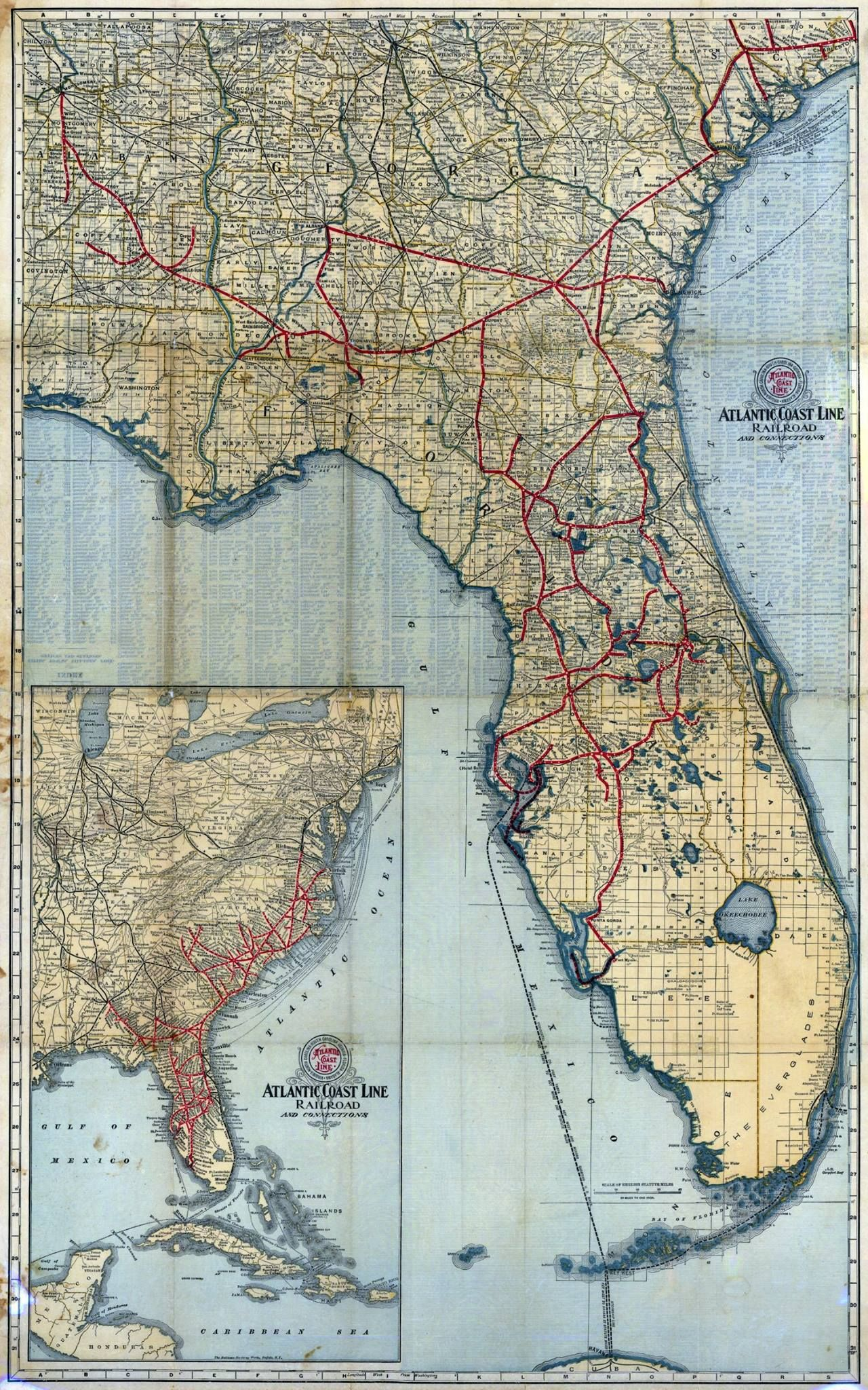 Atlantic Coast Florida Map.Atlantic Coast Line Railroad Map 1902 Hi Res In 2019 Old