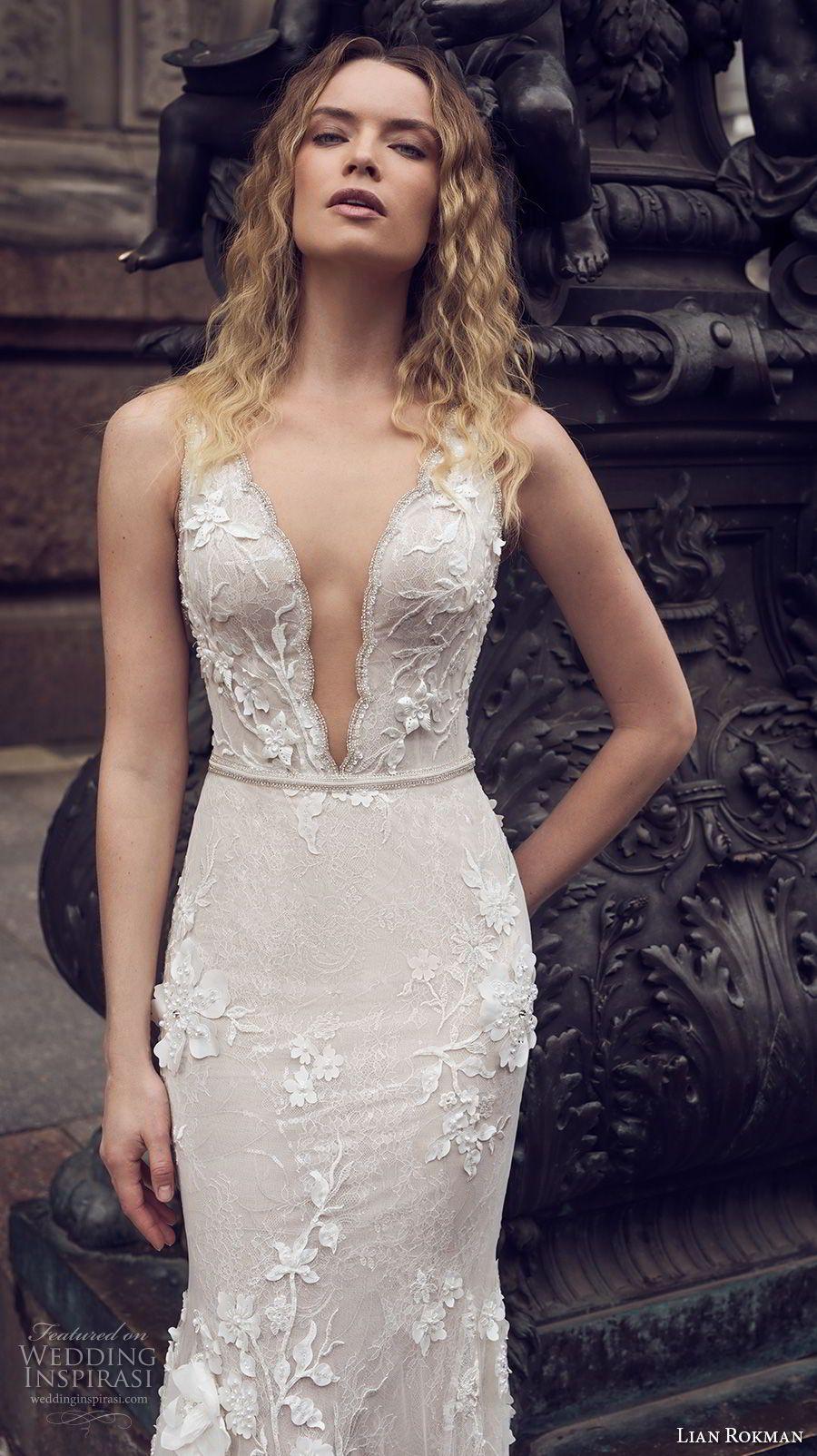 Lian rokman bridal sleeveless deep plunging v neck full