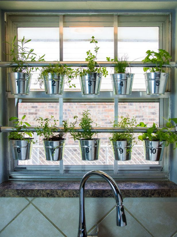 Do It Yourself Window Mounted Hanging Herb Garden Hgtv Gardens Herb Garden In Kitchen Window Herb Garden Hanging Herb Garden