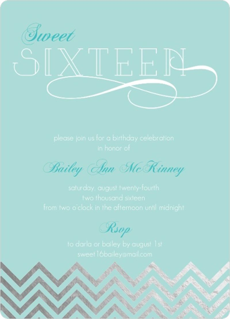 Light Blue Silver Foil Sweet Sixteen Birthday Invitation Design 16th