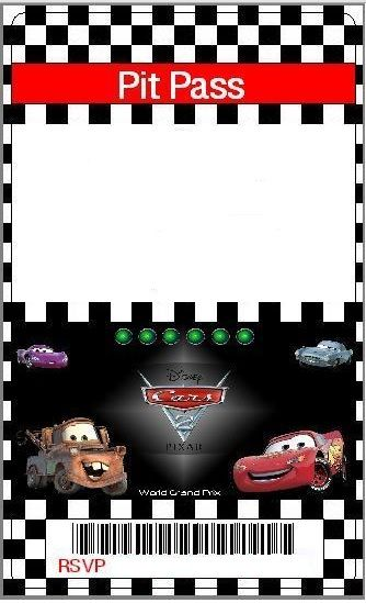 Cars Invitation Card Template Free: Pit Pass - Personalize