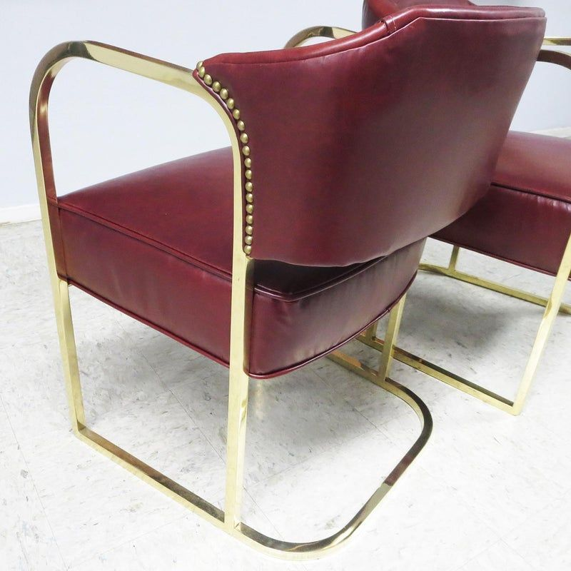 Art Deco Mid Century Lounge Chairs Polished Brass Leather In 2020 Mid Century Lounge Chairs Mid Century Lounge Chair
