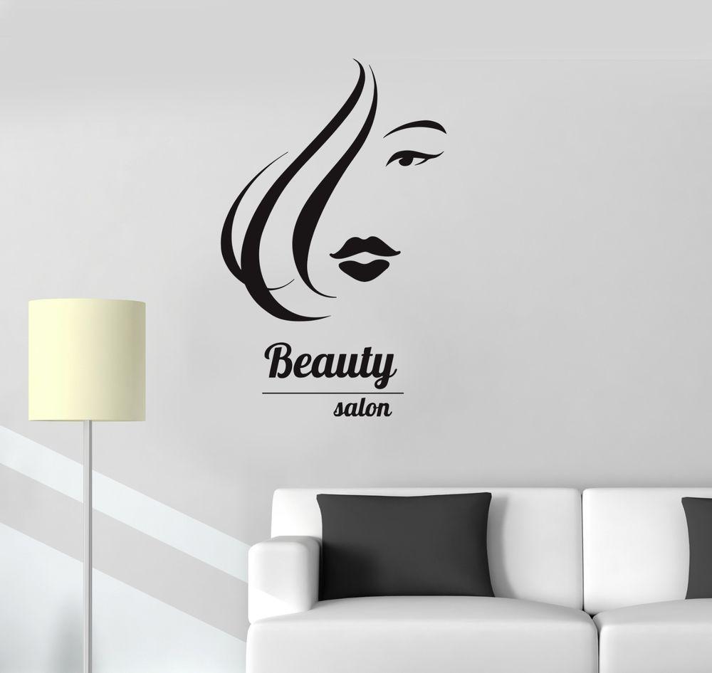 Details about vinyl wall decal beauty salon hair spa hairdresser woman girl stickers ig3250 - Stickers salon design ...