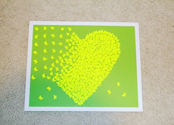 Green/ Electric Green painting 3D Hearts art Wedding by Gabiworks