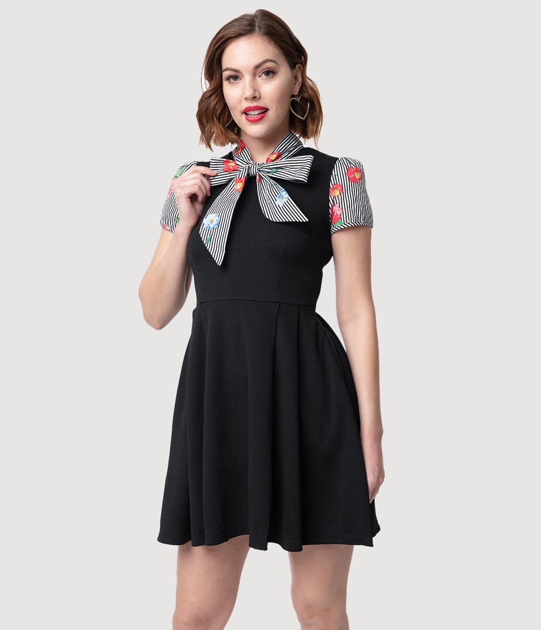 ff5527d60 Smak Parlour 1960s Style Black Stripe & Floral Empower Hour Fit & Flar –  Unique Vintage
