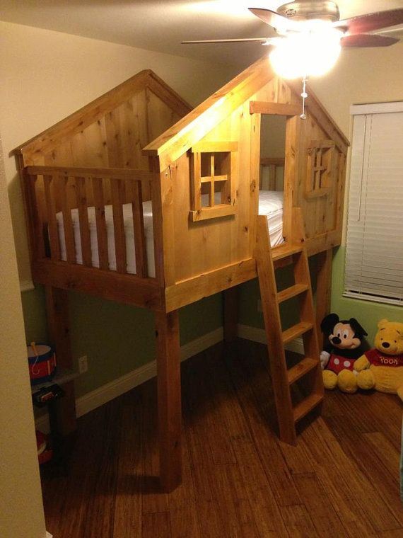solid hand built kids tree fort bed by