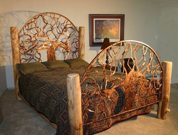 "Beds Made From Trees the ""durango"", queen size hand made bed 