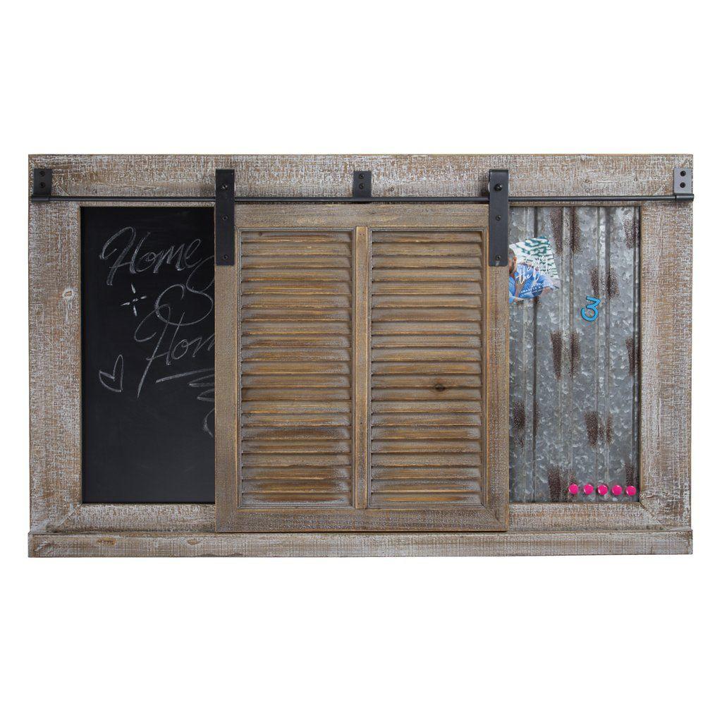 Rustic Wood Sliding Barn Door Chalkboard In 2019 Chalkboards